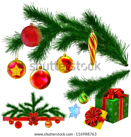 set of Christmas tree fir branches decorated of christmas balls, bow and gifts on white background