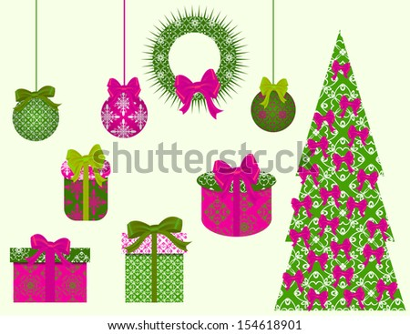 set of Christmas vector clip art for scrapbook. raster copy