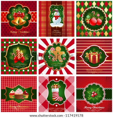 Set of christmas vintage backgrounds. Check my portfolio for vector version.