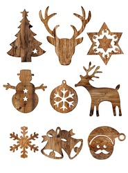 Set of christmas wood decorations isolate on white, xmas ornament. vintage styles