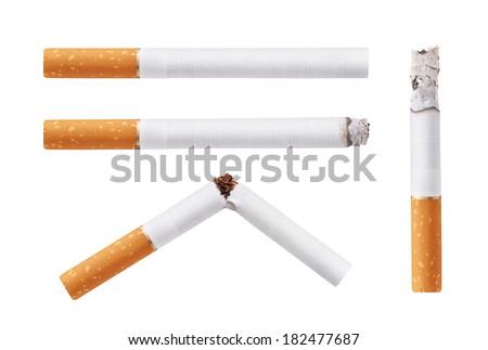Set of cigarettes. Isolated on white background