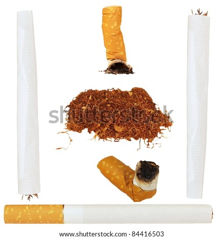 Set of cigarettes, tobacco, cigarette butts isolated on white background, textures