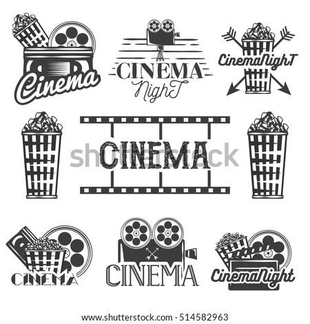 Set of cinema labels and logos. Isolated illustration in vintage style, monochrome badges, emblems and design elements of movie theater