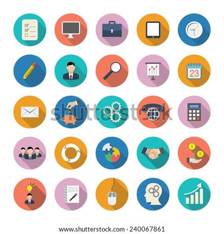 Set of circle flat business icons
