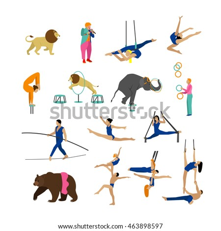 Set of circus artists, acrobats and animals isolated on white background. Circus show icons and design elements.