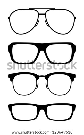 Set of classic glasses, isolated on white background