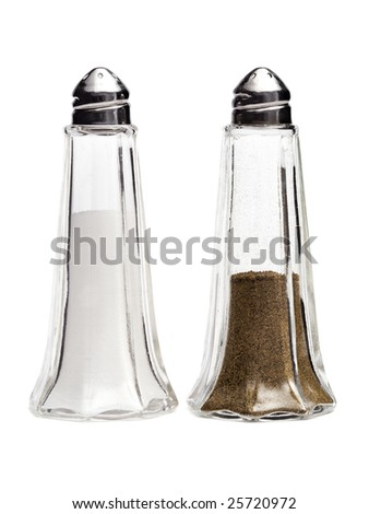 set of classic salt and pepper shakers isolated on white