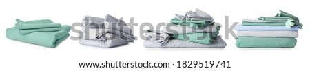 Set of clean bed sheets on white background Photo stock ©