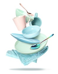 Set of clean tableware and napkin in flight on white background