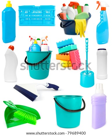 Set of cleaning tools and products on white