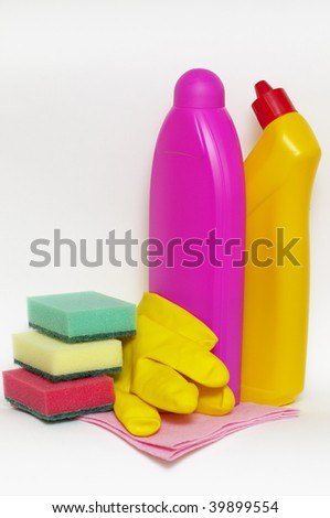 Set of cleaning up stuff isolated over white background