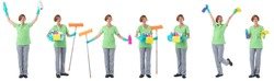 Set of Cleaning woman with tools full length portraits doing different gestures isolated on white background