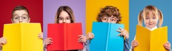 Set of clever girls and boys in glasses covering faces with colorful books and looking at camera with interest against vivid background in studio