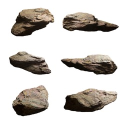 Set of cliff stones isolated white background, Objects with Clipping Paths for design work, The direction of the contrast light