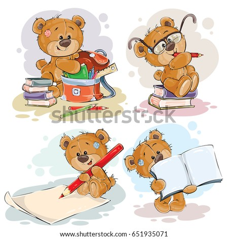 Set of clip art illustration with a teddy bear on the topic of school and university education. Funny illustrations for greeting cards and children s books