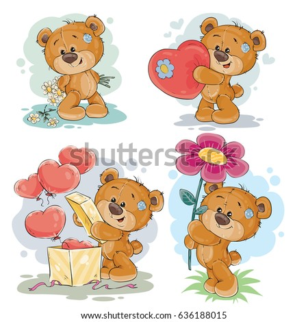 Set of clip art illustrations of enamored teddy bears in various poses - holding a bouquet of flowers, heart, unpacks the gift