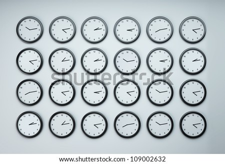 set of clocks with different time