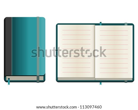 Set of closed and opened sketchbook with blue cover. Raster version of the vector image