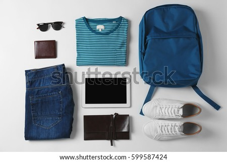 Set of clothes and accessories for man on white background #599587424