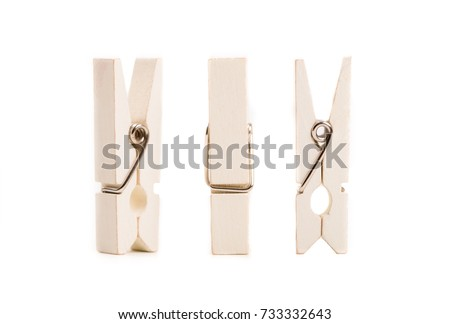 Set of clothes pegs isolated on white background.