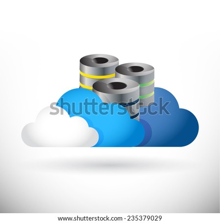 set of clouds and storage servers illustration design over a white background