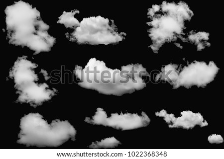 Set of clouds white on isolated elements black background. - Shutterstock ID 1022368348