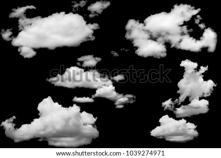 Set of clouds white on isolated elements black background. - Shutterstock ID 1039274971