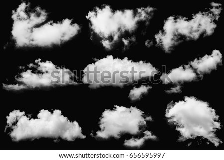 Set of clouds white on isolated elements black background.
