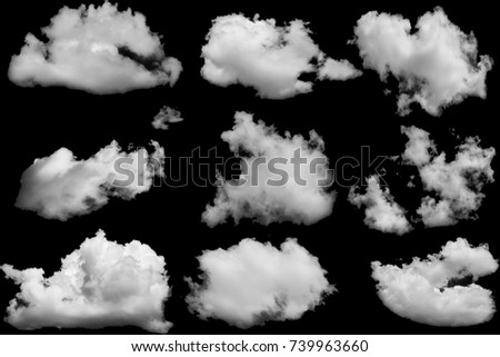 Set of clouds white on isolated elements black background. - Shutterstock ID 739963660