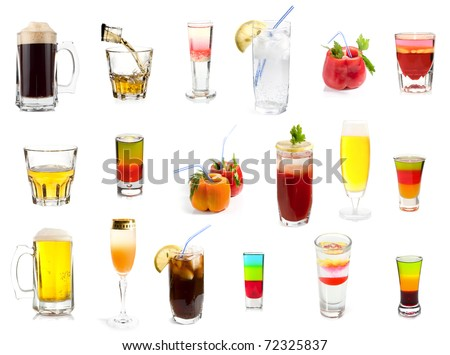 Set of 18 cocktails and alcoholic drinks isolated on white background
