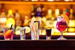Set of cocktails at the bar. Alcoholic beverages.