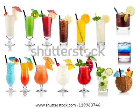 set of cocktails soft and long-drinks ind front of white background