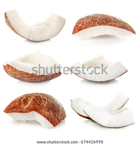 Set of coconut pieces on white background