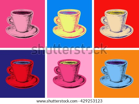 Set of Coffee Mug Illustration Pop Art Style Andy Warhol
