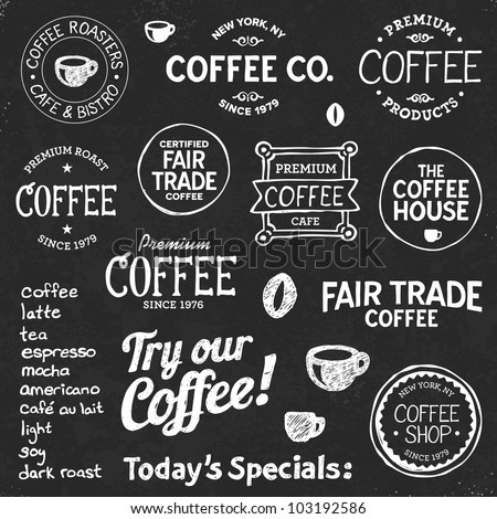 Set of coffee shop sketches and text symbols on a chalkboard background