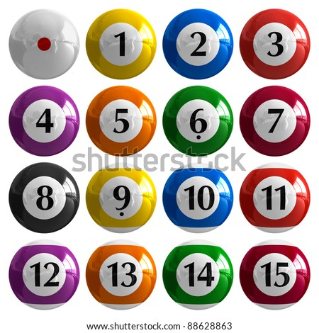 Set of color american billiard balls isolated on white background