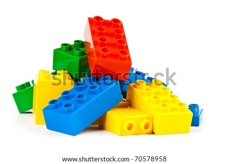 set  of color building blocks on white isolated background