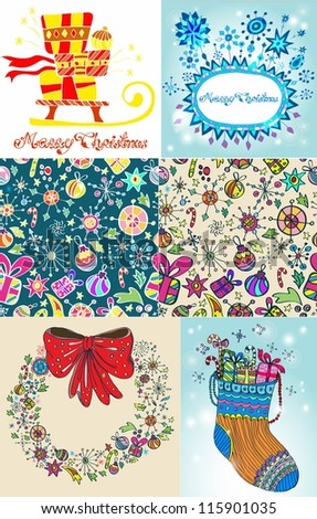 Set of color Christmas Cards for your design