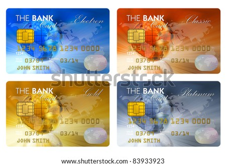 Set of color credit cards isolated on white background - stock photo