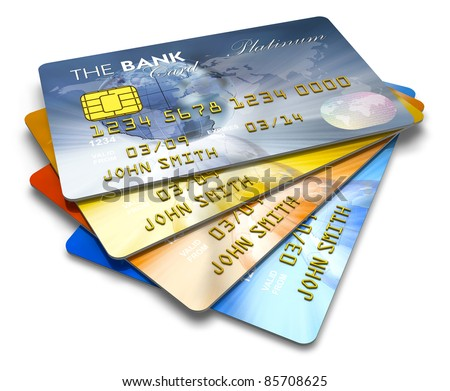 Set of color credit cards isolated on white background