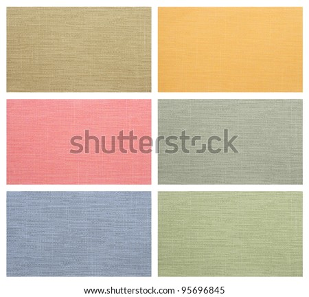 set of color fabric sample isolated on white background