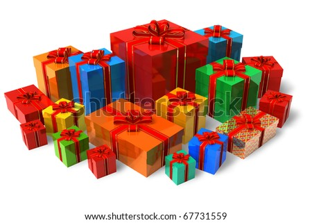 Set of color gift boxes