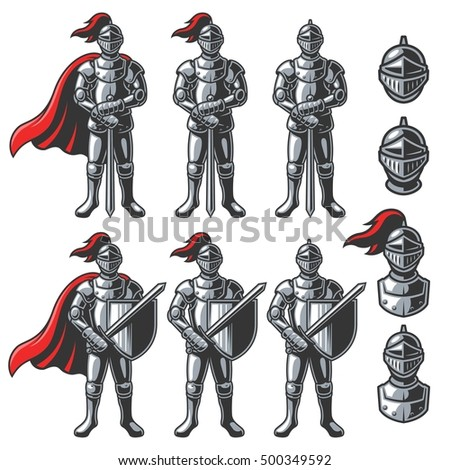 Stock Photo Set of color knights in different poses on white background. Perfect for logo, emblem, label and badges design