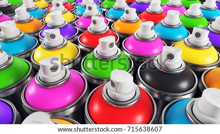 Set of color paint cans, Closeup render 3d