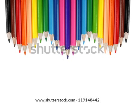 Set of color pencil isolated on white background