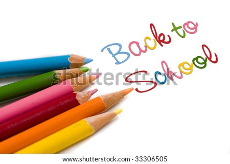 Set of color pencils with back to school text, concept special sale or deal