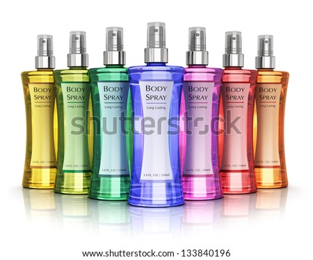Set of color perfume bottles isolated on white background