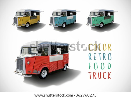 Set of color retro food trucks isolated with cutting path