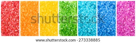 Set of color saturated aroma sea salt, rainbow banners