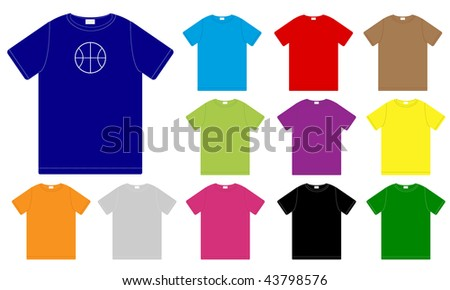 Set of Color T-Shirts Templates - stock photo